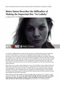 Helen Simon Describes the Difficulties of Making the Important Doc 'No Lullaby' Interview - Way Too Indie_01
